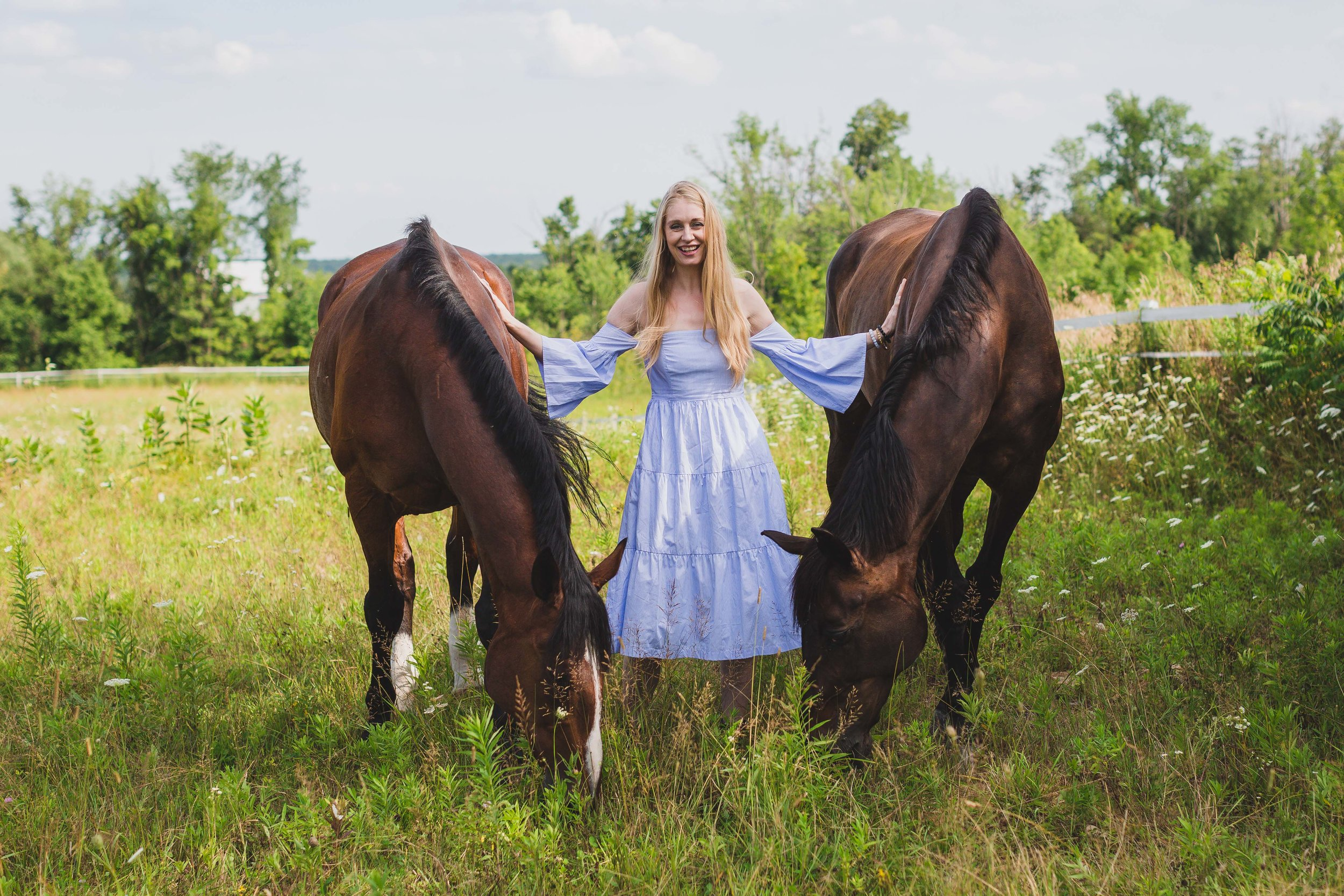 Bruce and Peter, part of our healing with horses herd, protecting energy medicine woman Shelly Burton.