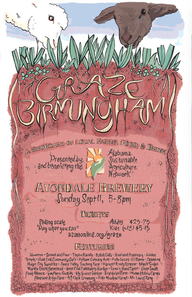 """This Sunday! Don't miss your chance to try the best food, drink, and local farm produce in Birmingham and probably the whole state.  """"Graze: Birmingham is a farm-to-fork picnic in which attendees 'graze' on a wide variety of dishes, each produced by a different local farmer/local chef pair. Add in some picnic blankets, live music, and delicious local beverages... and it's a picnic you don't want to miss!""""  Tickets may be purchased here: https://squareup.com/store/asanonline"""