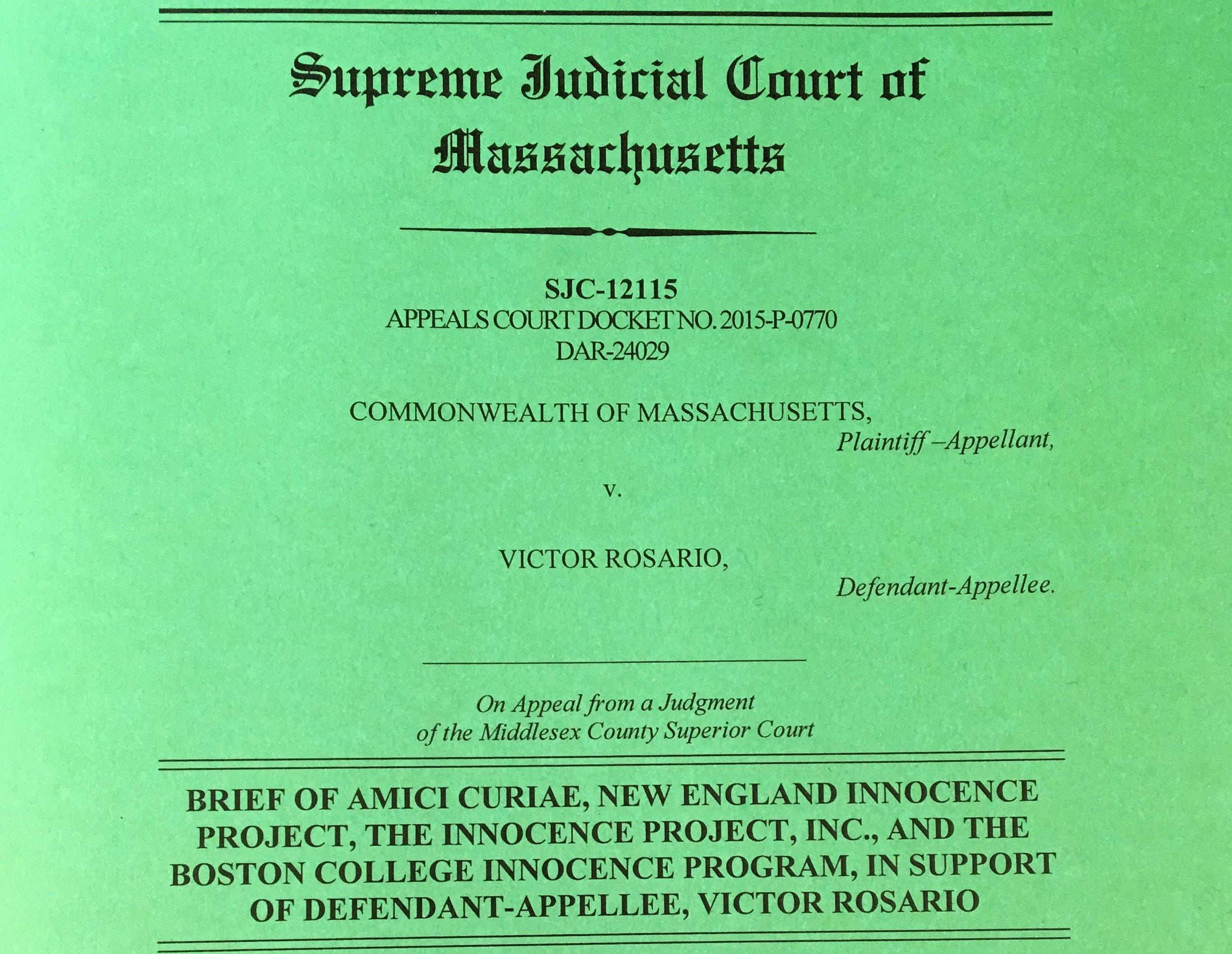 Commonwealth of Massachusetts v. Victor Rosario.