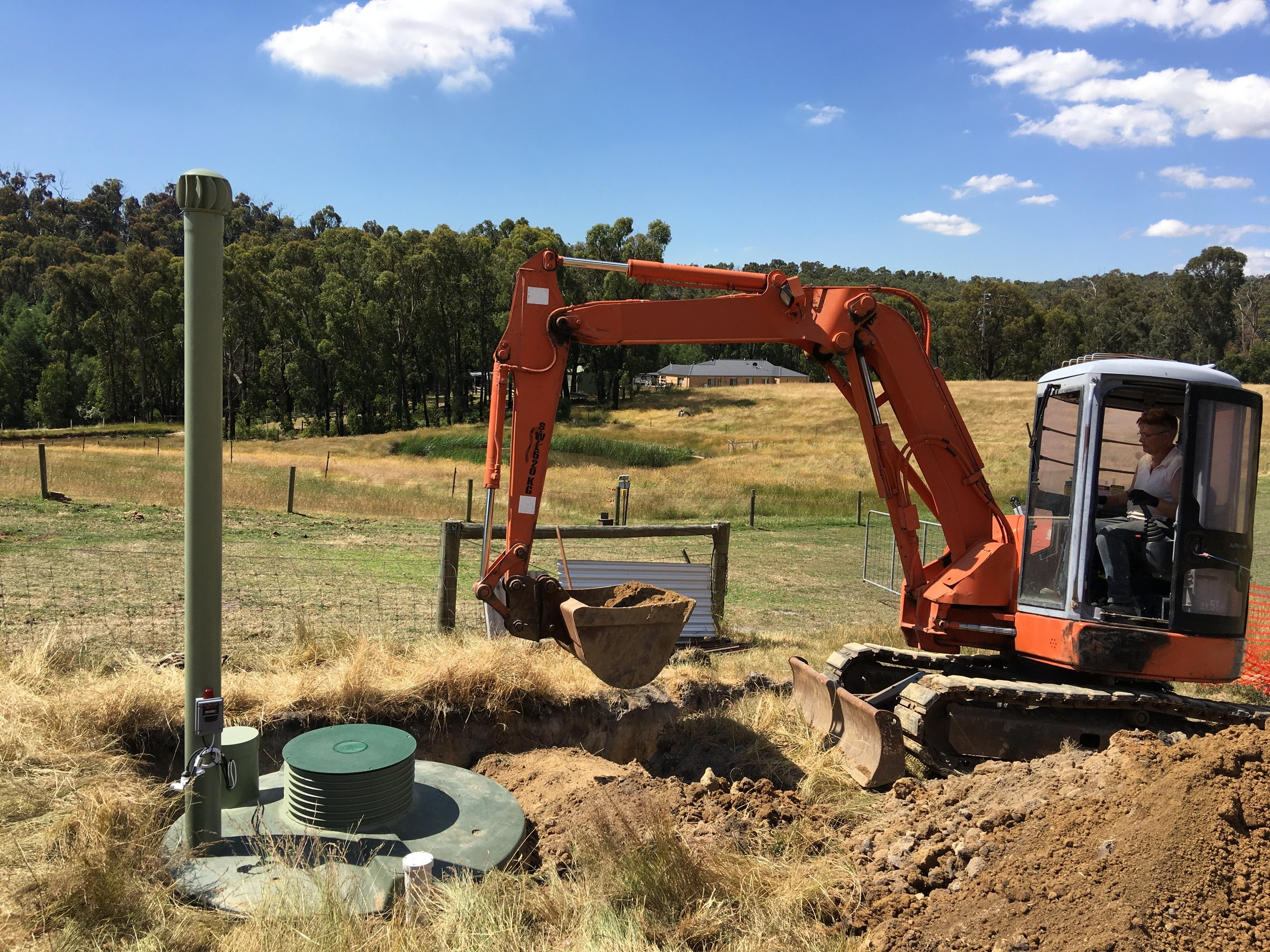 Backfilling the installed WormWorx tank.