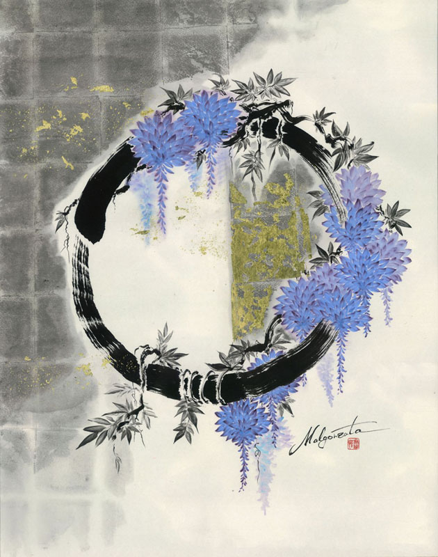 Enso Wisteria,  ink on Japanese paper