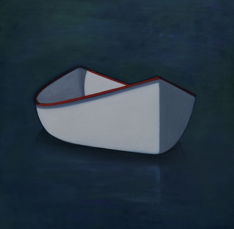 White Canoe Turned Right, Red Edge,  oil on canvas, 48 x 48 inches