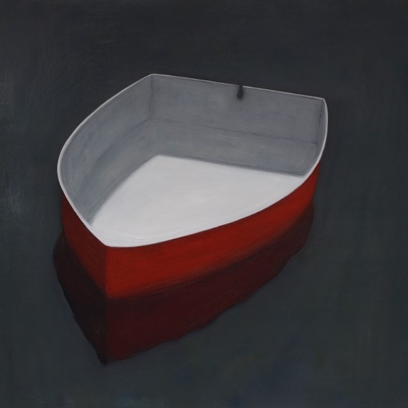 Red Boat Turned Left , oil on wood, 36 x 36 inches