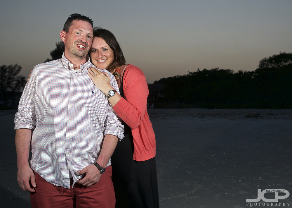 All smiles after proposing at the Thistle Lodge on Sanibel, Florida - Nikon D90 Tamron 17-50mm @ f/6.3 1/60th ISO 200 - Strobist: SB800 & SB600 off camera