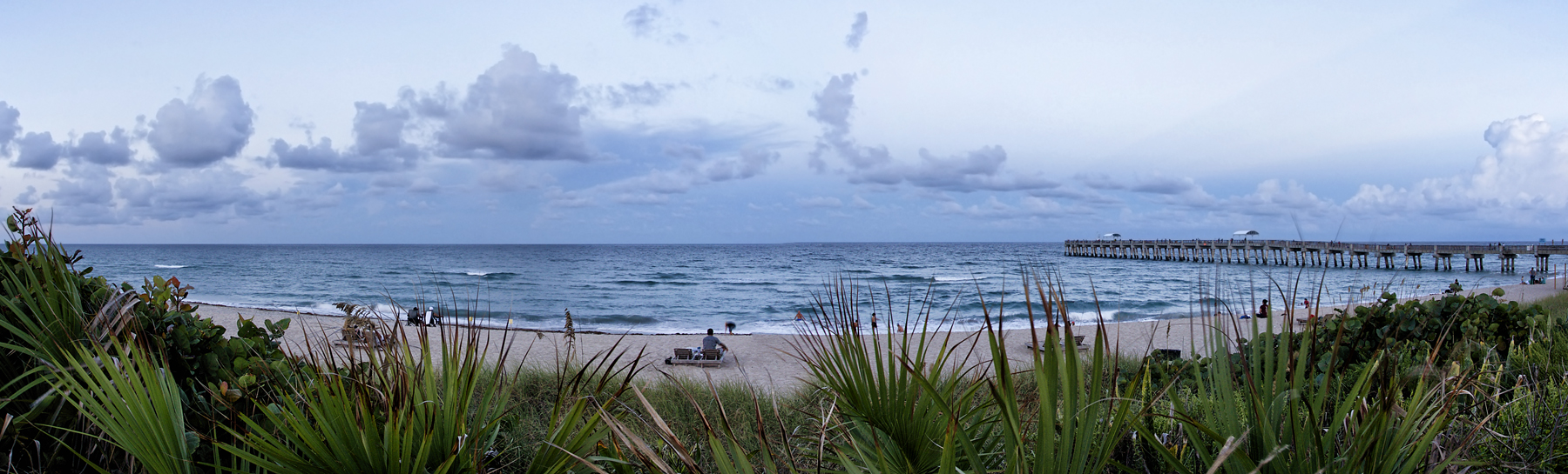 3-shot panorama of the Atlantic Ocean from Florida featuring the classic Lake Worth Pier - Nikon D300 with Tamron 17-50mm tripod mounted @ f/11 1/3 ISO 200 stitched using Photomerge in Photoshop CS5