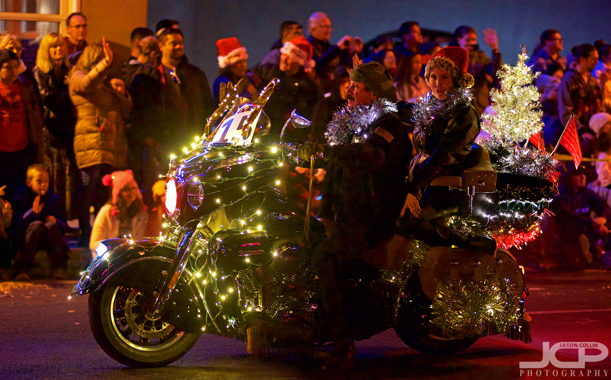 Even motorcycles got decked out for the Twinkle Parade, complete with Christmas Tree! - Nikon D750 with Nikkor 80-200mm @ f/2.8 1/200th ISO 4000