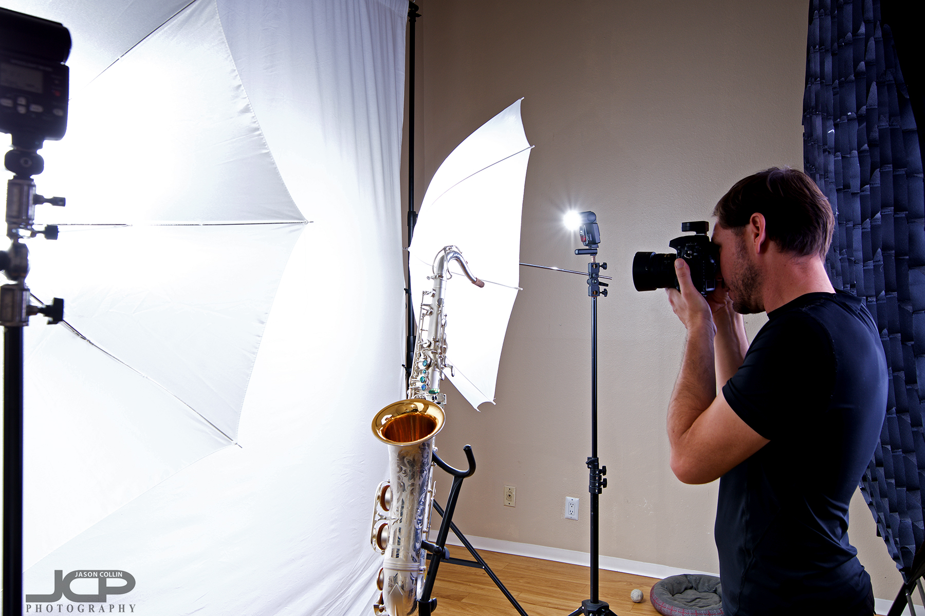 "That's the big 55"" octagon softbox behind me as photograph a saxophone in my Home Studio"
