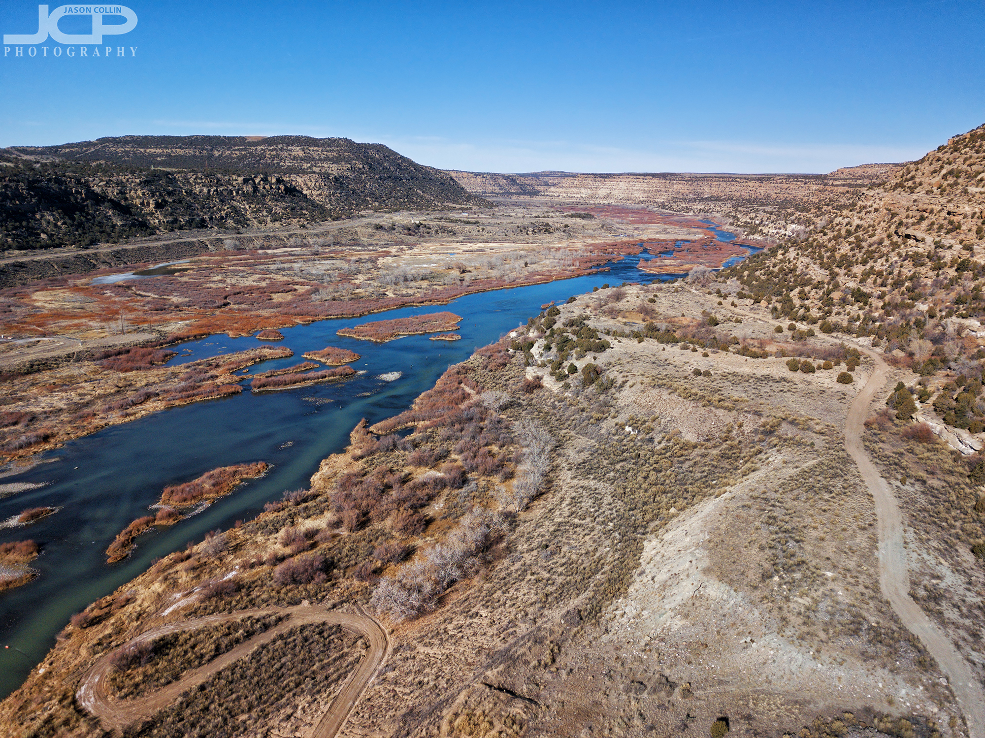 The beautiful San Juan River in New Mexico near the Navajo Dam - DJI Mavic Pro drone image