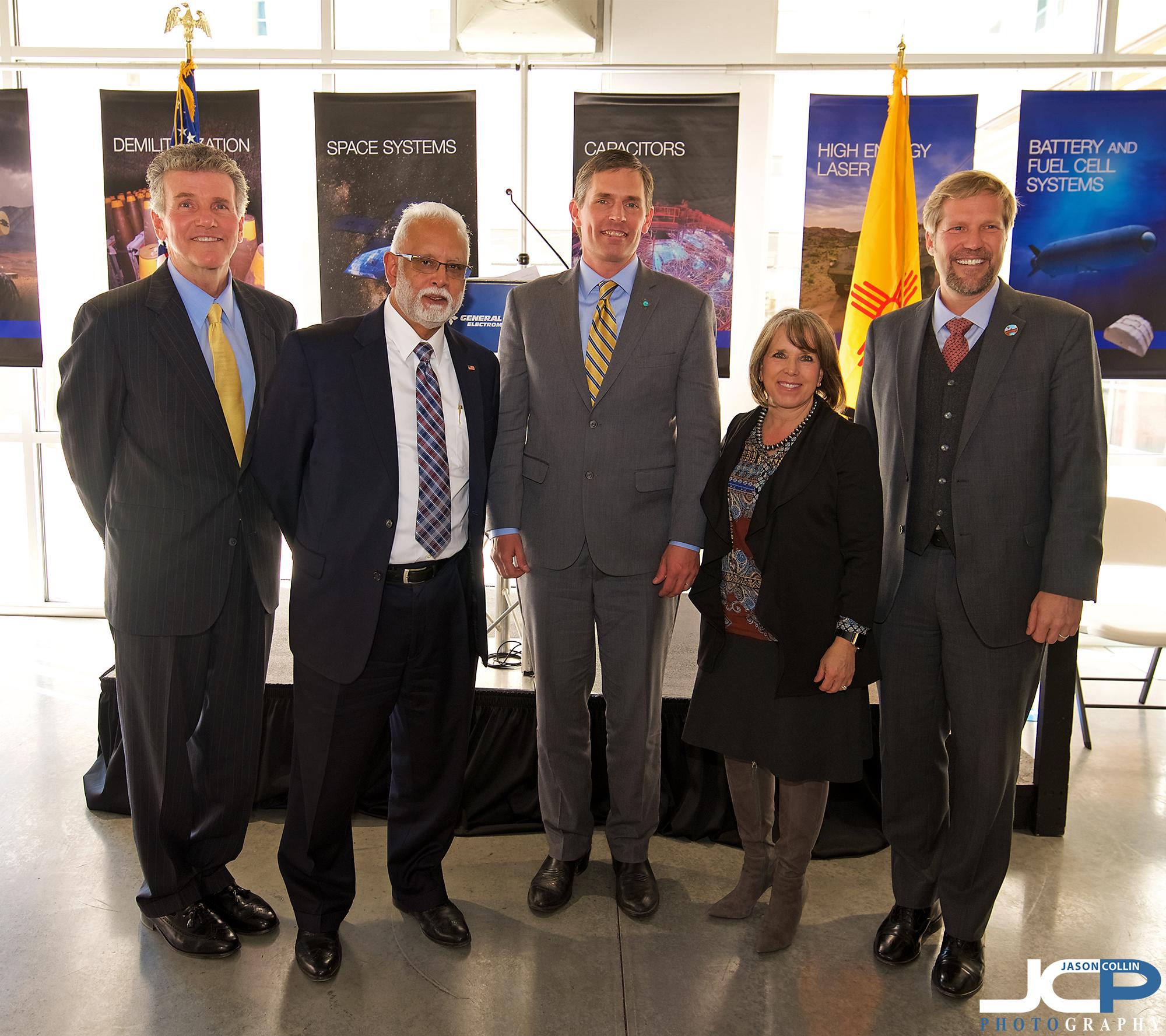 General Atomics executives with Senator Martin Heinrich and Representative Michelle Grisham and Mayor Keller