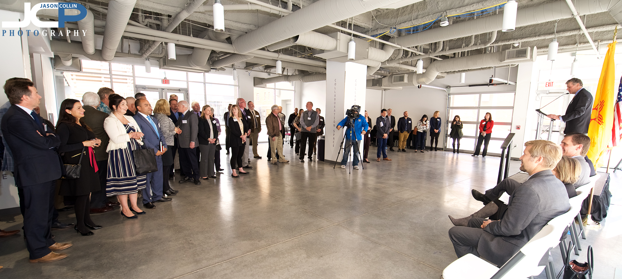 A large crowd on hand for the grand opening speeches at General Atomics in Albuquerque New Mexico