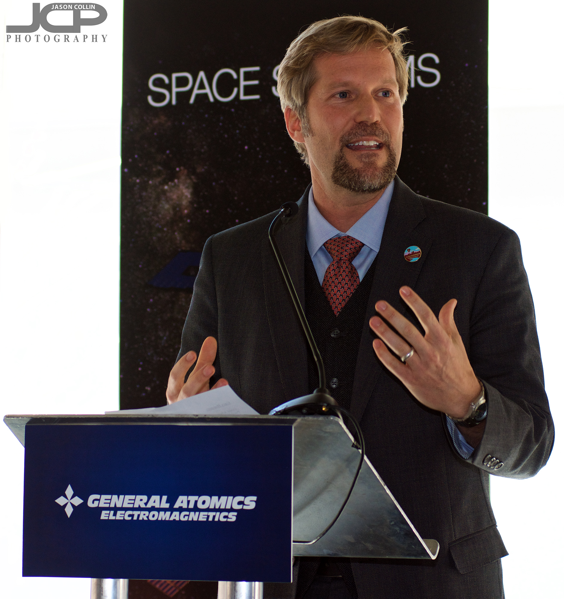 Albuquerque New Mexico Mayor Tim Keller speaks at the General Atomics grand opening event