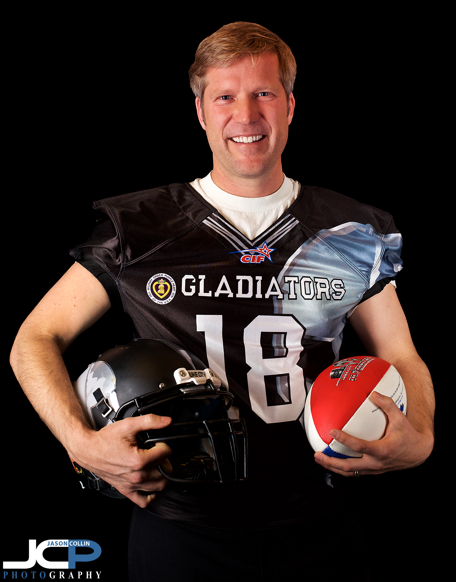 Mayor Tim Keller ready for his arena football game with the Duke City Gladiators! -Nikon D750 with Nikkor 50mm f/1.8G @ f/5.6 1/250th ISO 320 - Strobist: two Cheetahstand 12x55 gridded strip boxes with Nikon SB-800 speedlights to left and right