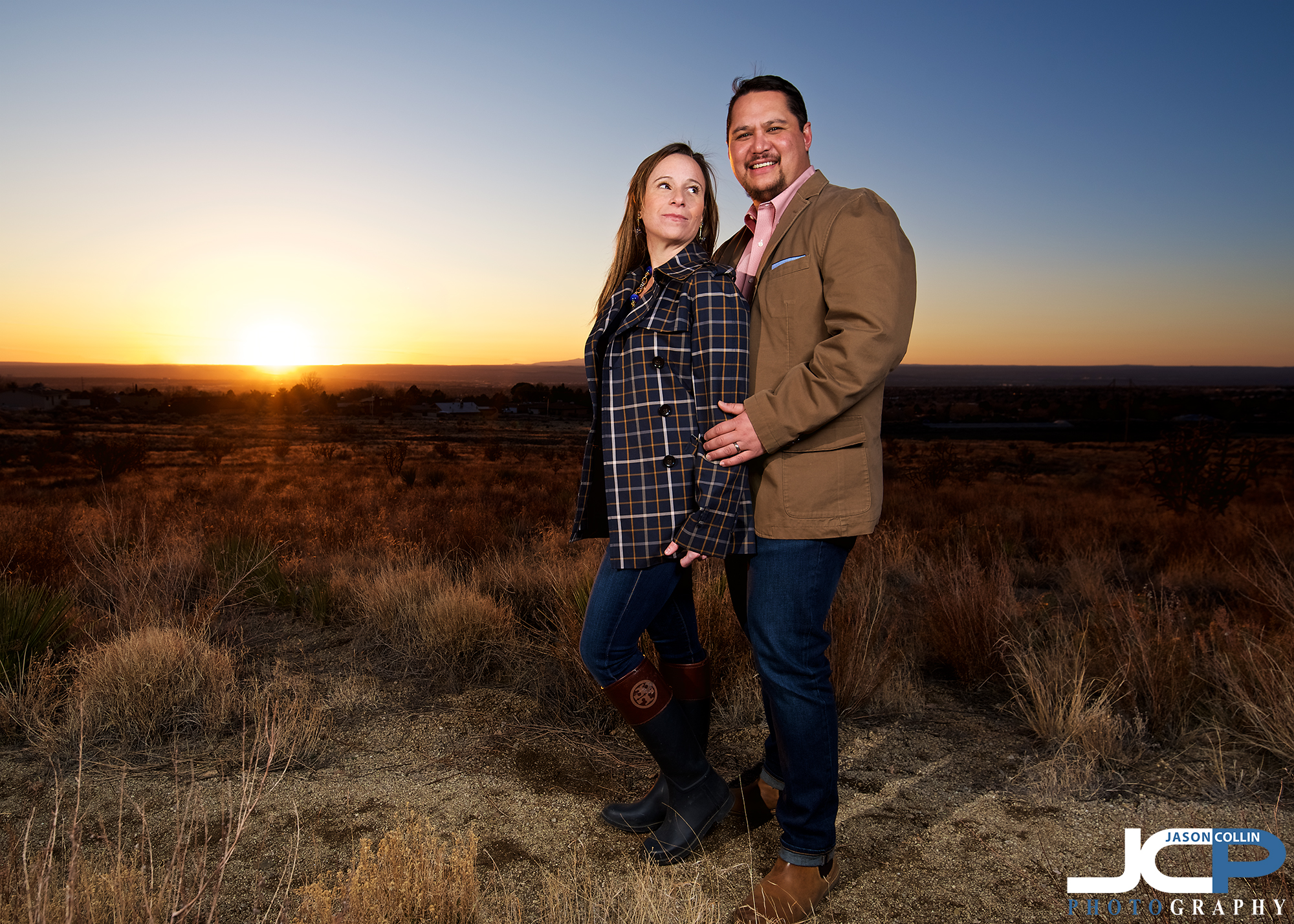 """Romantic sunset couple portrait in Albuquerque New Mexico -Nikon D750 with Tamron 15-30mm @ f/6.1 1/160th ISO 100 - Strobist: SB-800 in 32"""" octosoftbox and SB-600 with cap diffuser triggered by Pocket Wizard Flex TT5"""