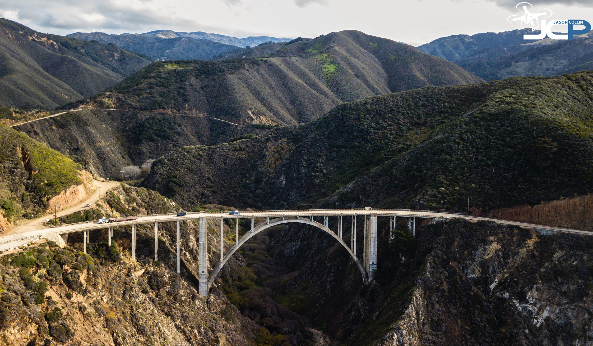 Drone's eye view of the Bixby Bridge from high above the Pacific Ocean - photo made with a DJI Mavic Pro drone & Polarpro ND4 filter