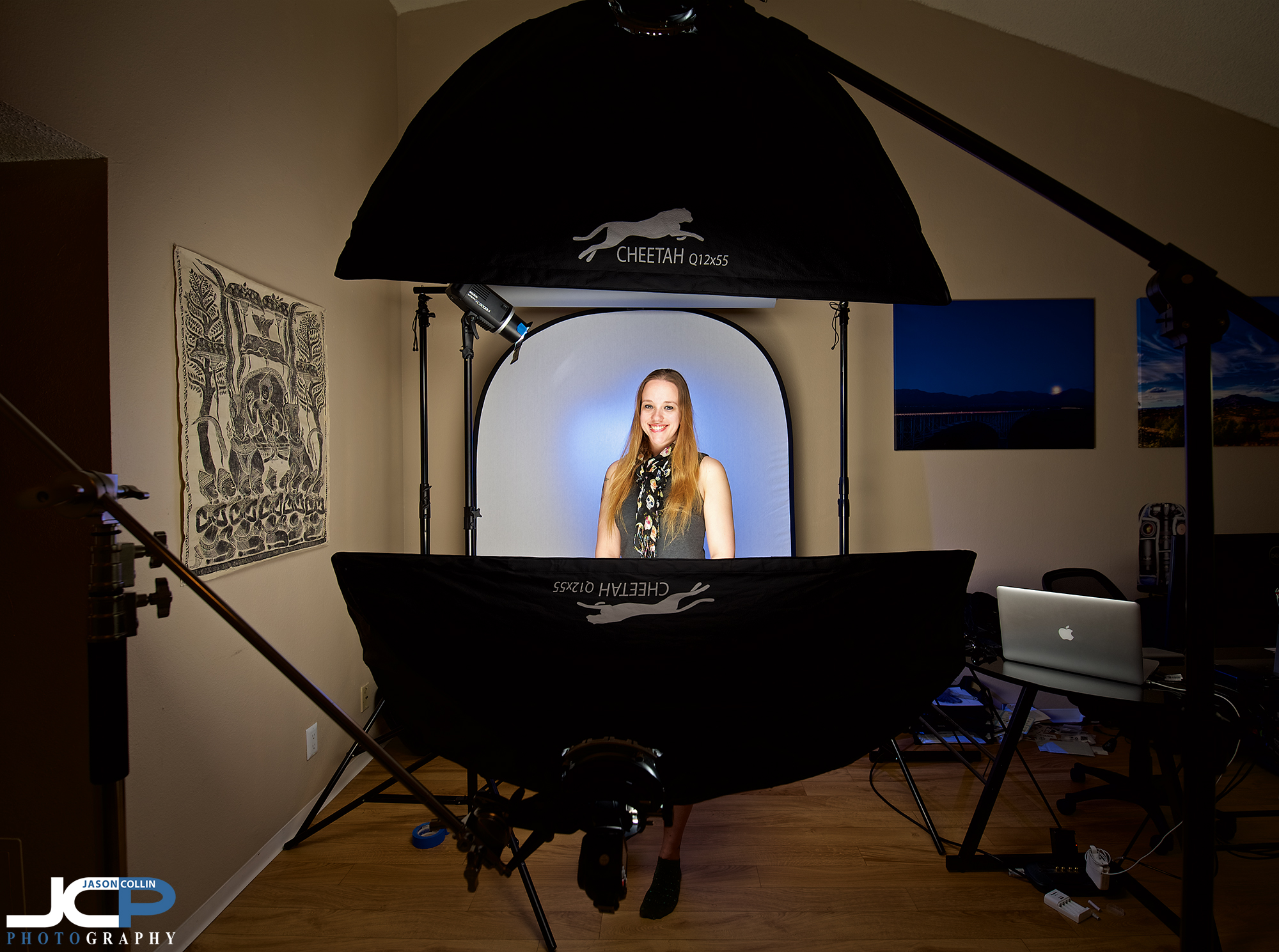 Clamshell lighting setup at the JCP Home Studio in Albuquerque New Mexico offering professional headshots of many different styles!