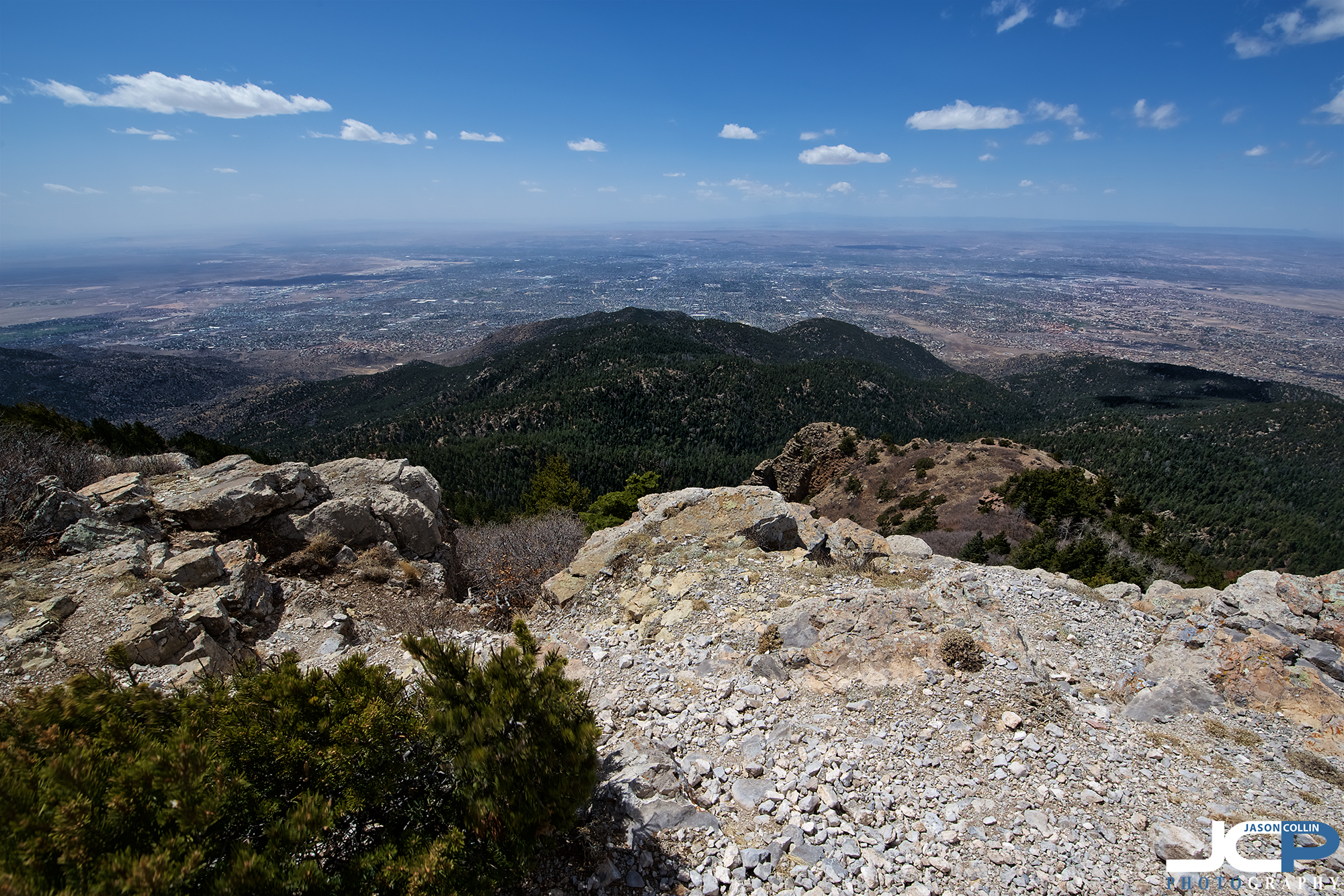 From the summit of South Sandia Peak looking down at Albuquerque, New Mexico