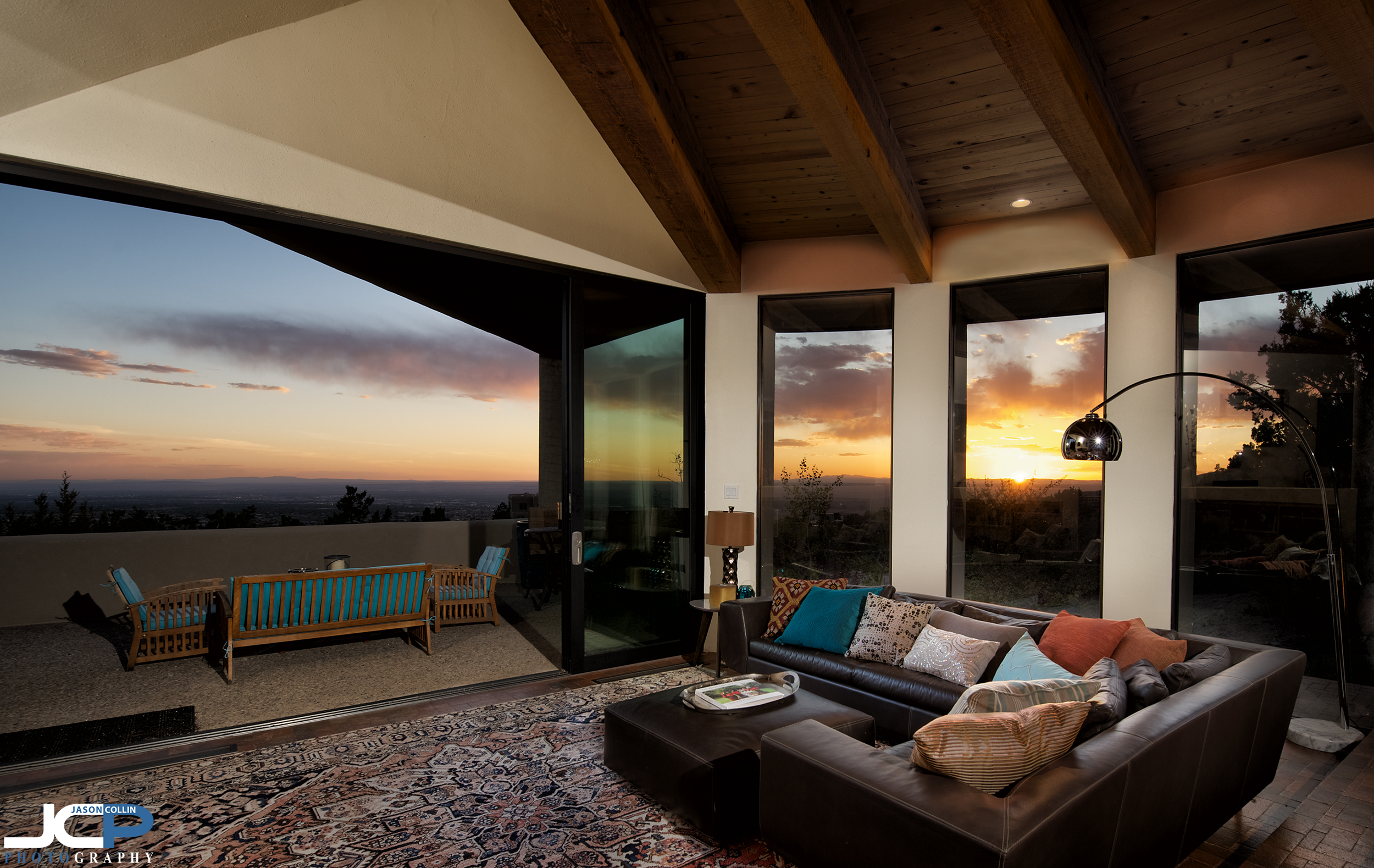 The stunning sunset view from this luxury architectural home in Sandia Heights, Albuquerque, New Mexico - photo made with the flambient shooting and editing technique using a Nikon D750 and a Tamron 15-30mm f/2.8 SP lens