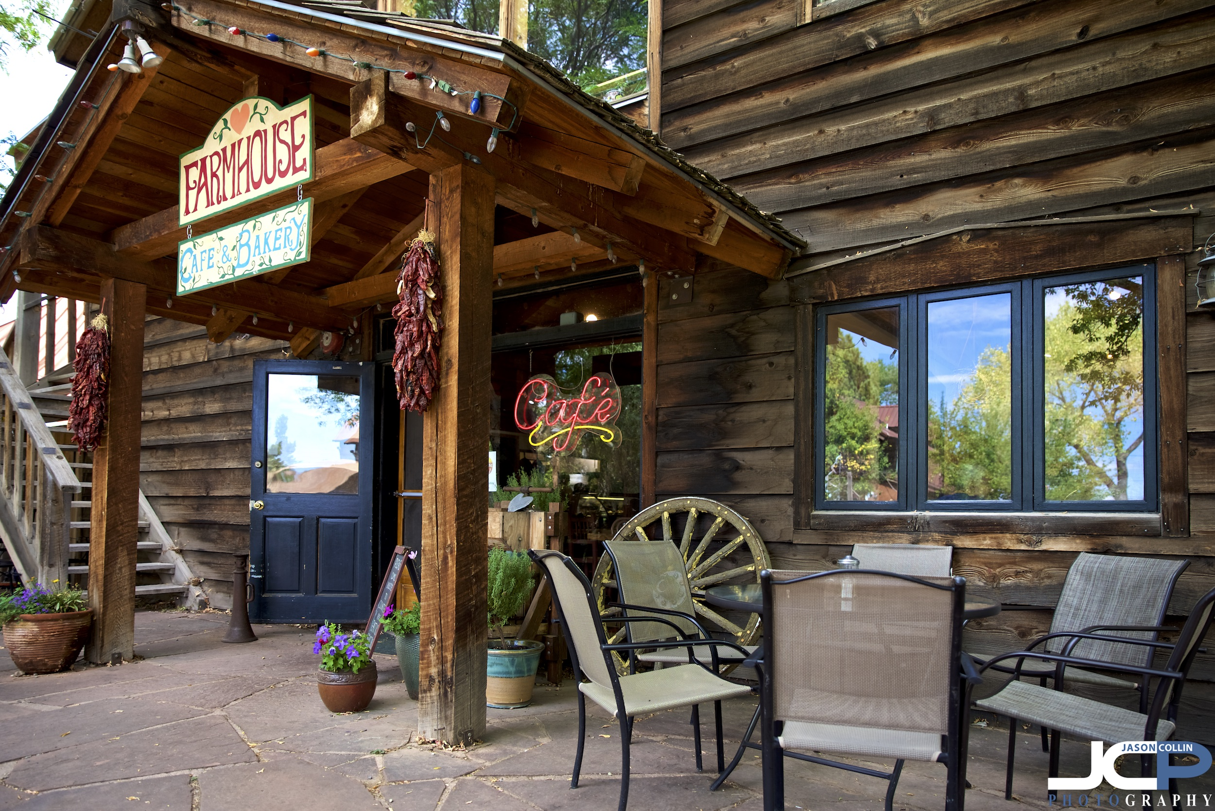 Entrance to the picturesque Farmhouse Cafe in Taos, New Mexico