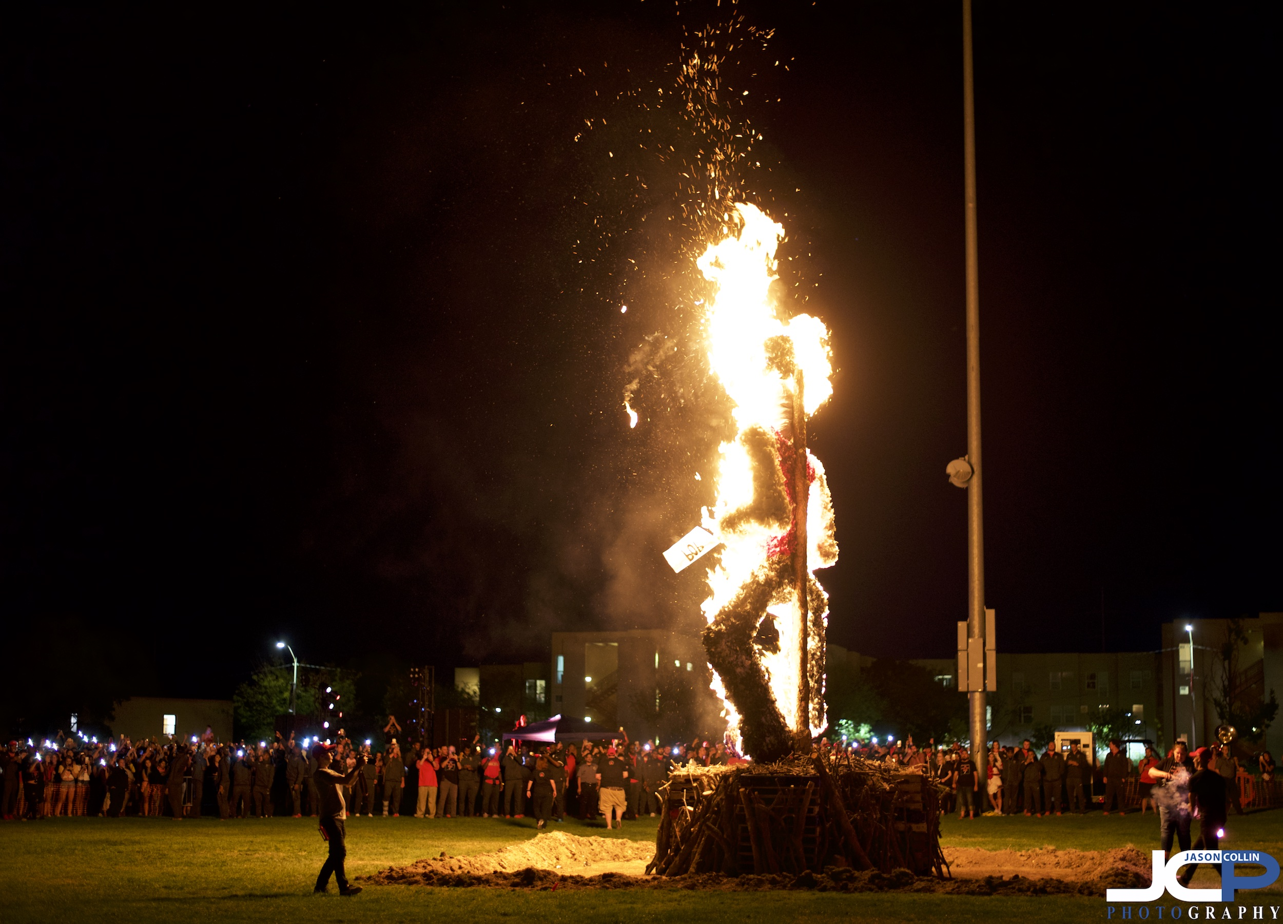 The annual burning of the Aggie before the UNM / NMSU rivalry football game.
