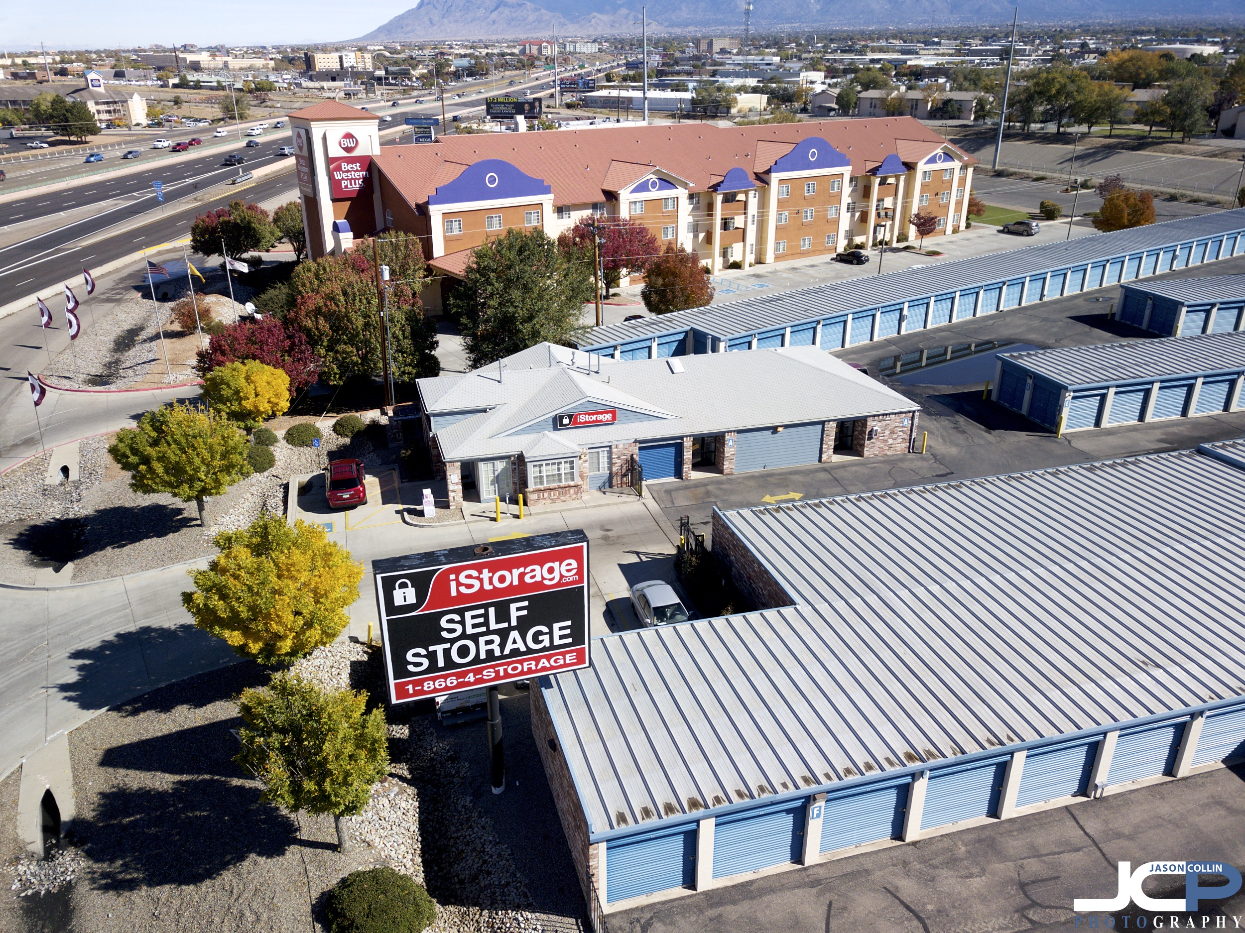 Drone aerial photo of a self storage business in Albuquerque, New Mexico -made with a DJI Mavic Pro