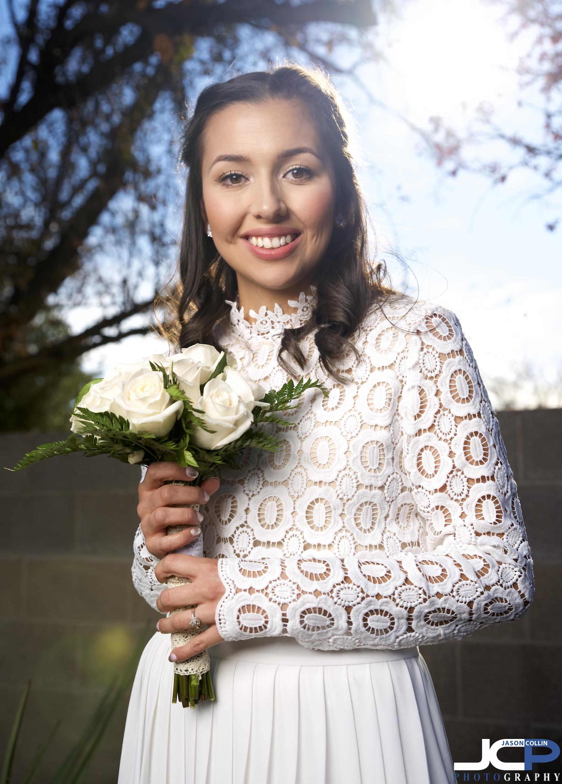 An outdoor wedding bride photo in Albuquerque, New Mexico