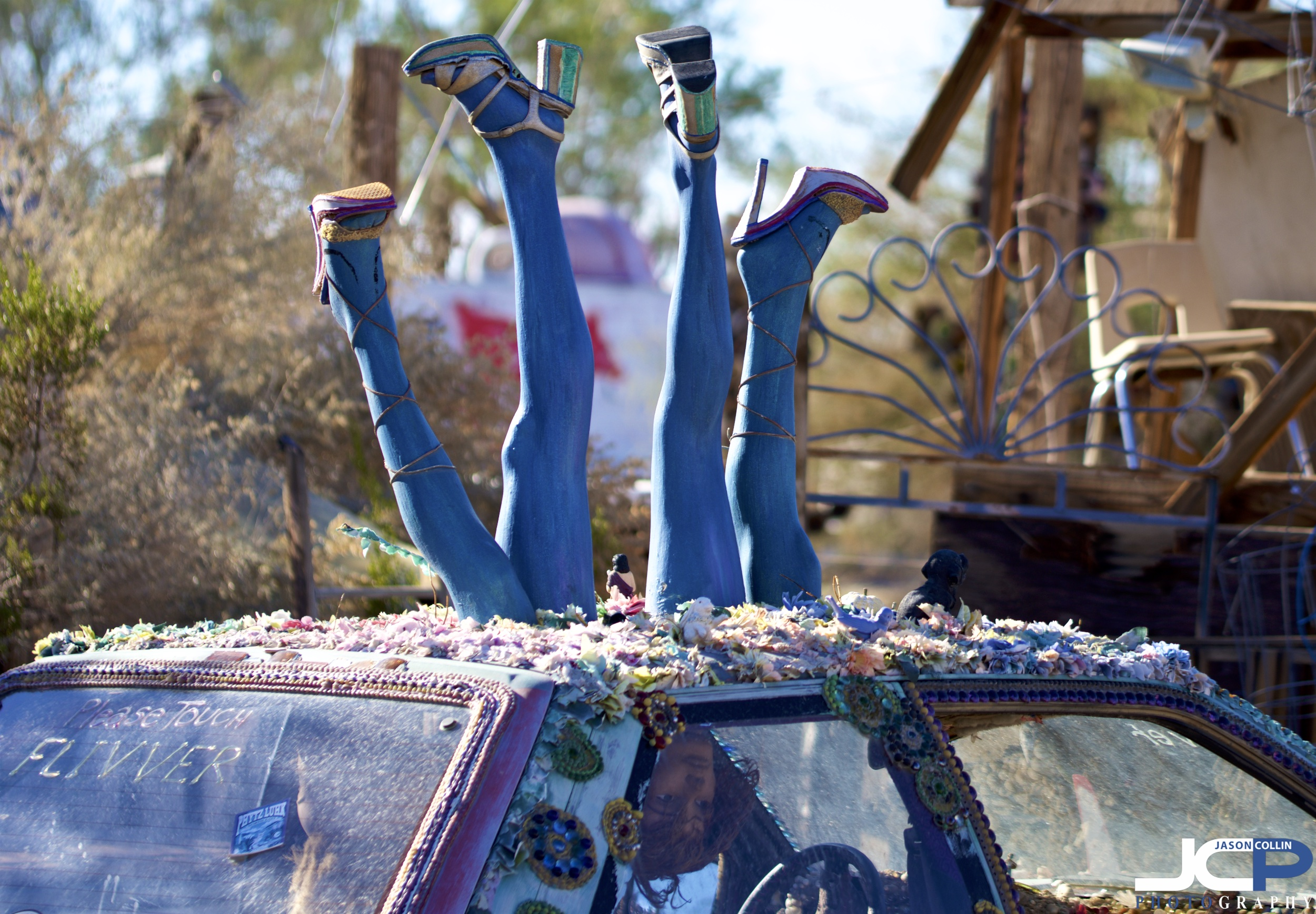Art on cars is popular in East Jesus Slab City California