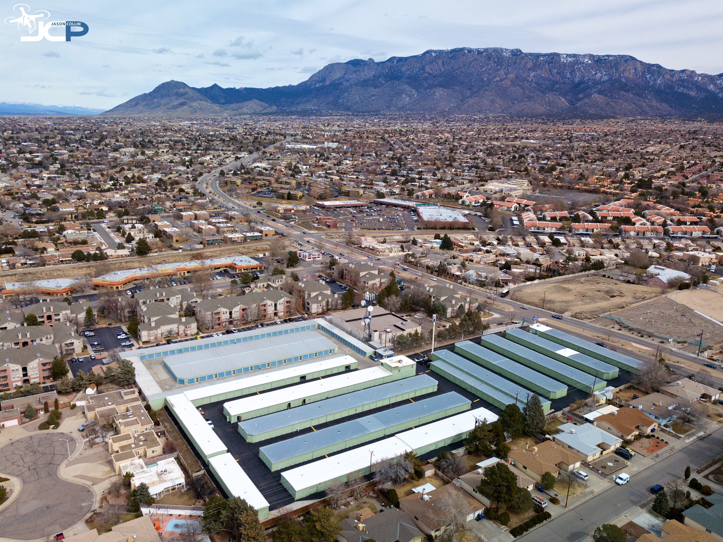 Drone photography can show a large facility in context of its surroundings, like this self storage property in Albuquerque, New Mexico