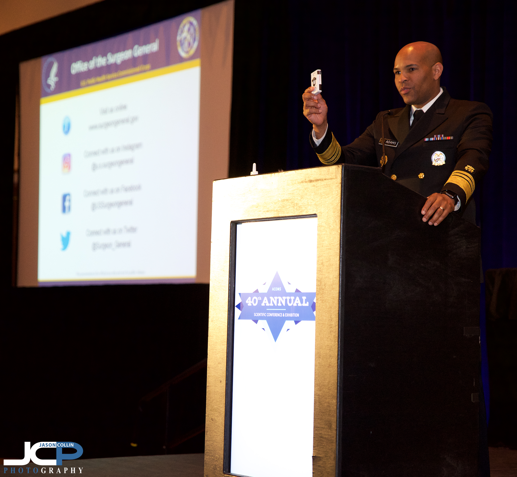 U.S. Surgeon General Dr. Jerome Adams speaks in Santa Fe, New Mexico