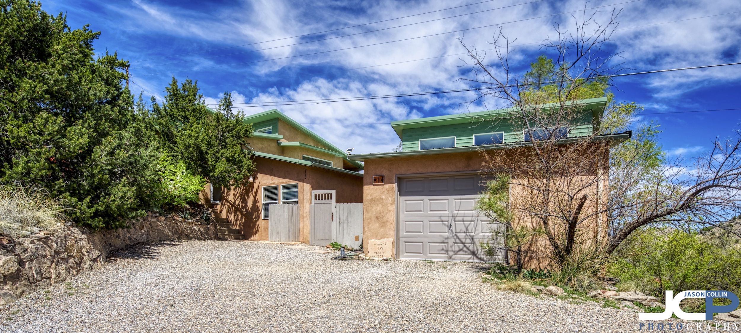 The hidden front view of this Placitas, New Mexico home - HDR real estate photography