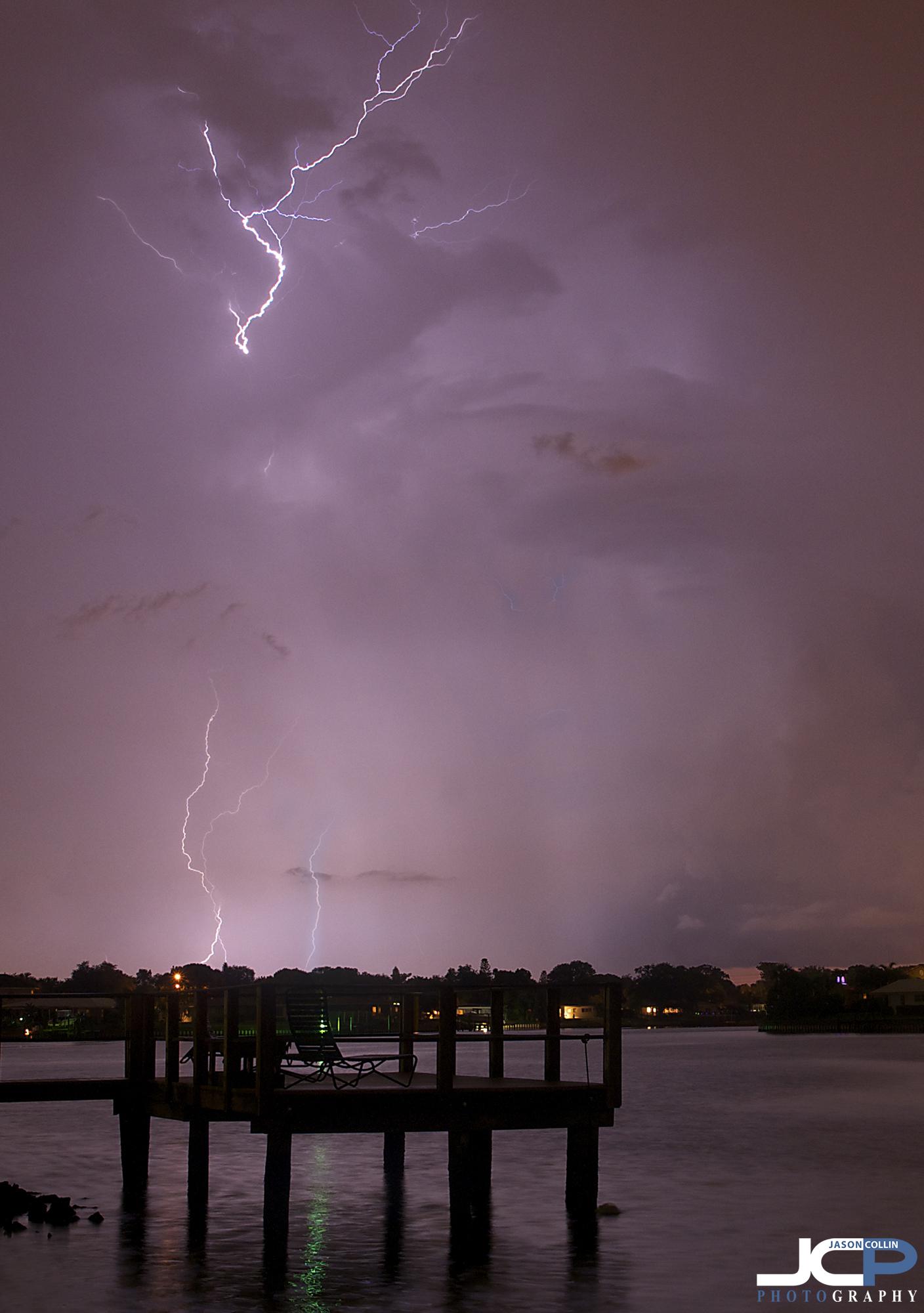 lightning pink sky Florida