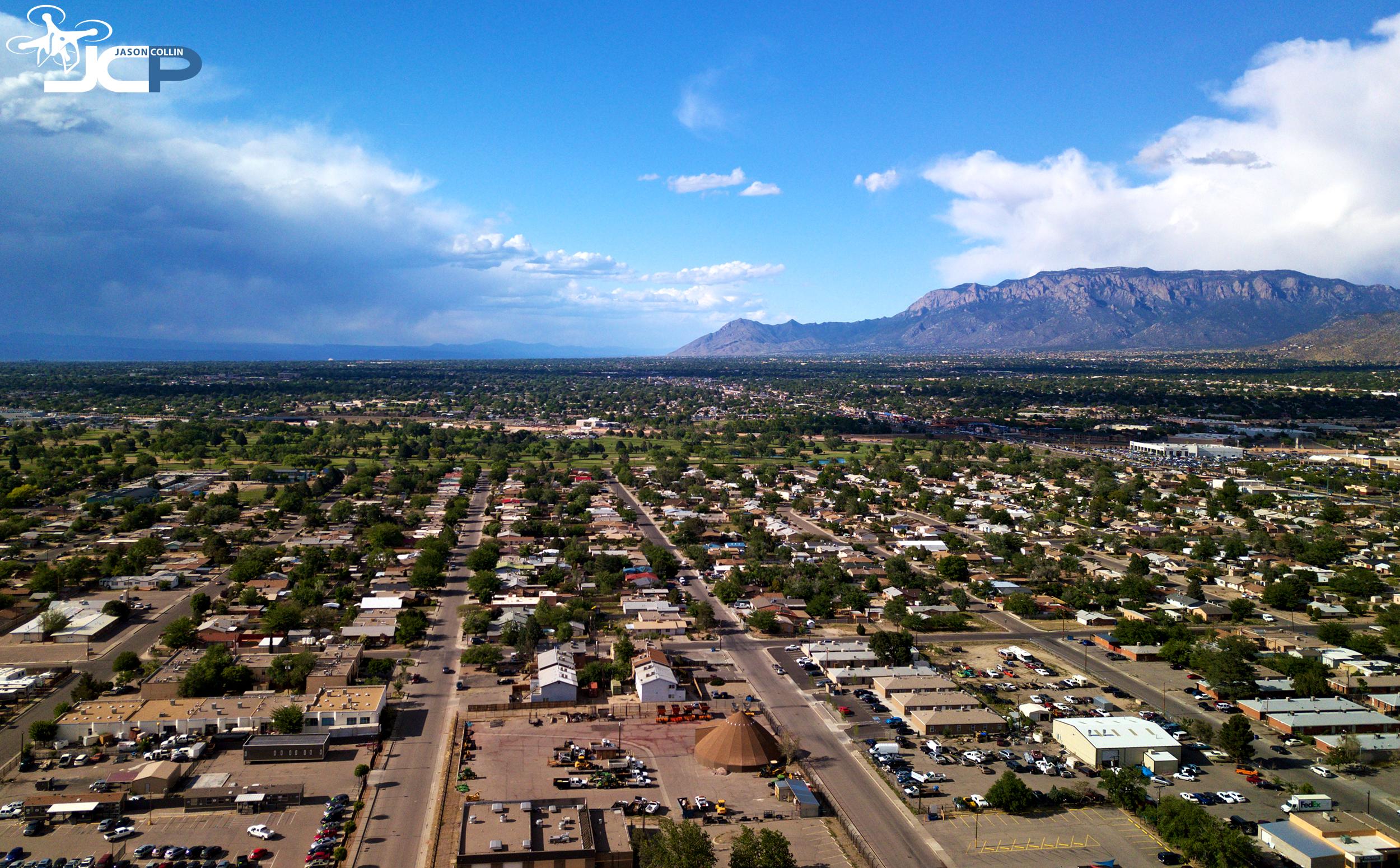 Aerial drone photo of southeast Albuquerque New Mexico