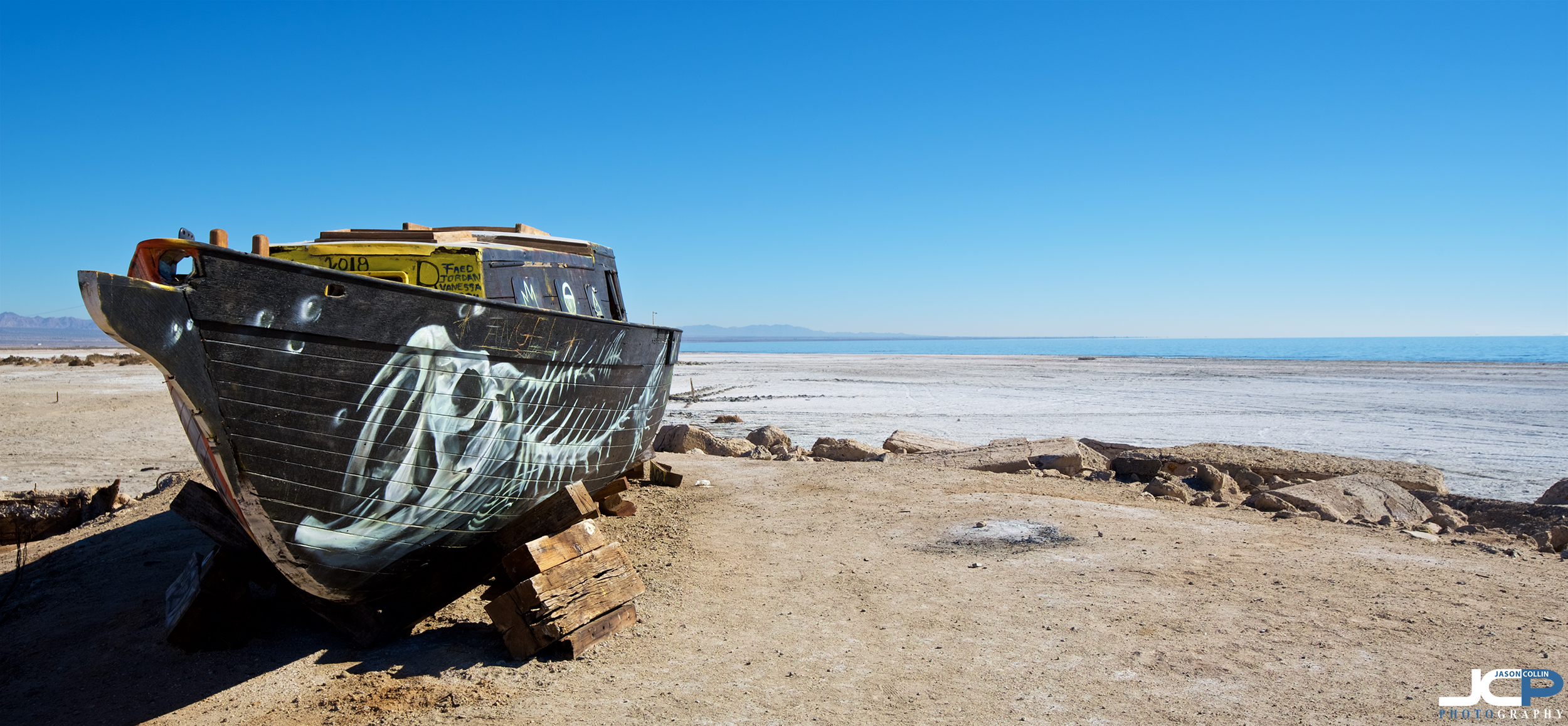 When did this boat last touch the Salton Sea as it sits on Bombay Beach, California?