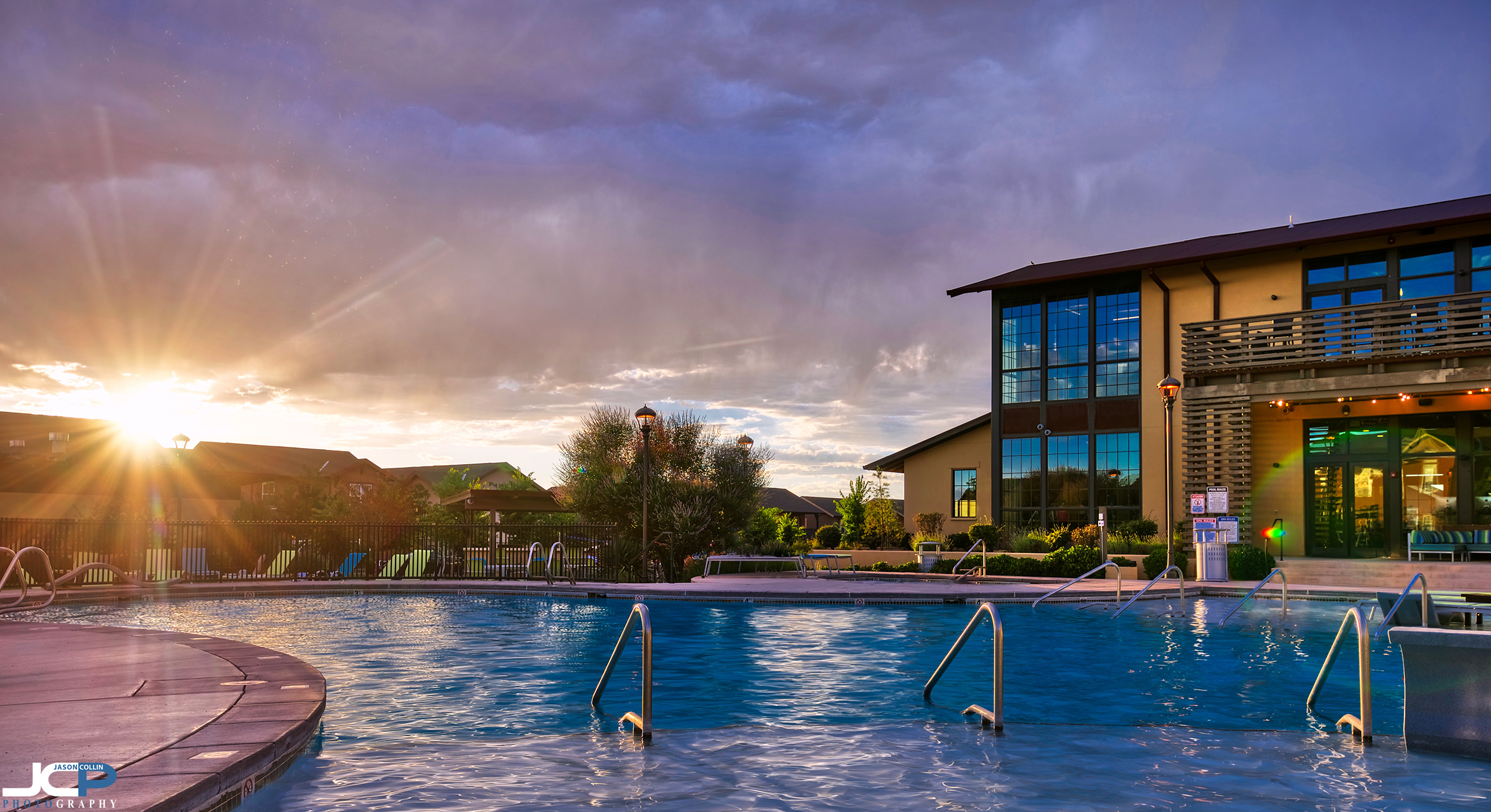 The view from in the pool is quite spectacular - Albuquerque, New Mexico professional apartment photography