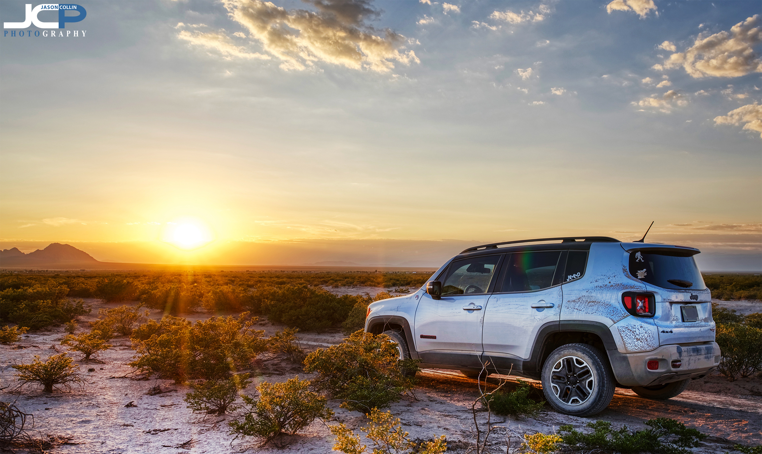 Getting covered in dust in the desert in Las Cruces New Mexico - Jeep Renegade Trailhawk