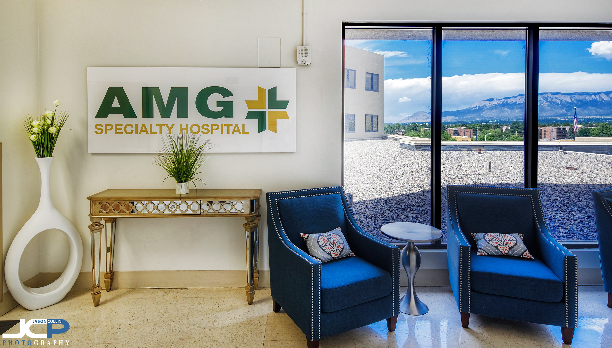 Great views of the Sandia Mountains as you enter AMG Specialty Hospital in Albuquerque New Mexico