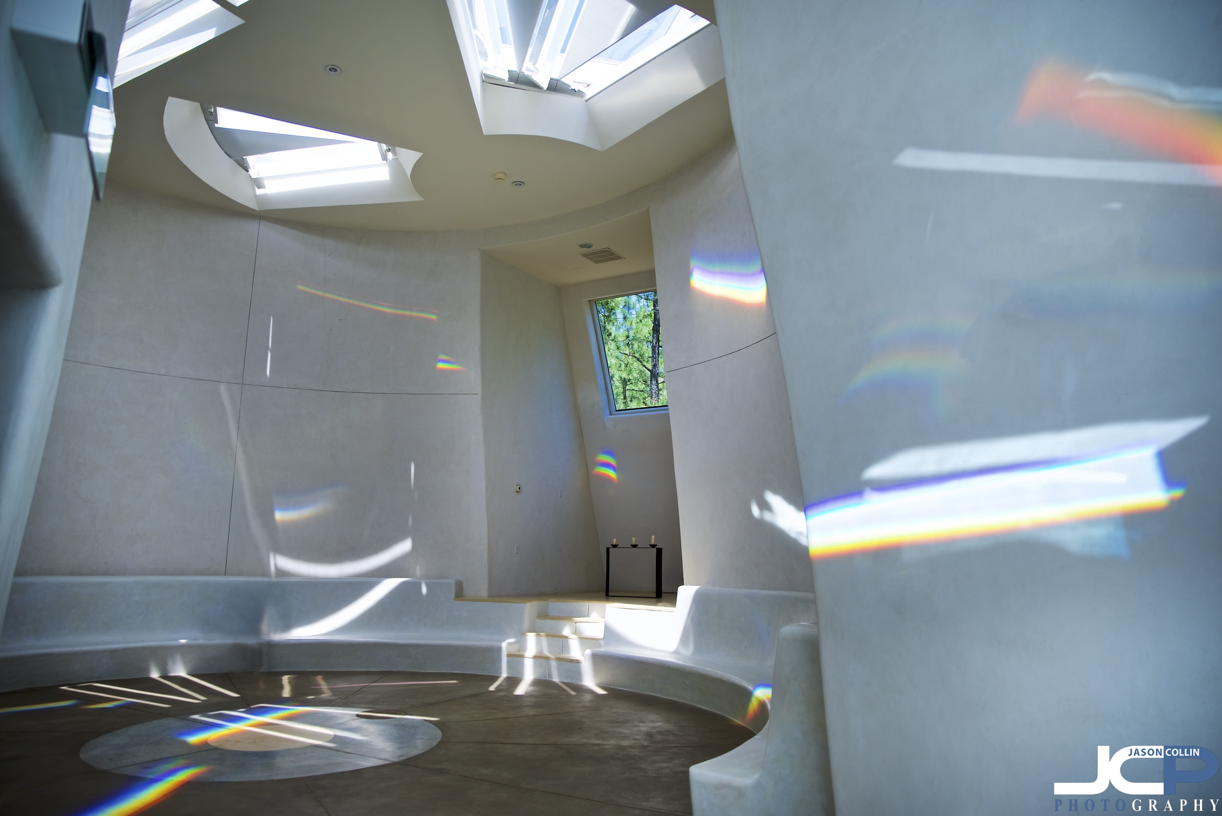 Prisms of light and rainbow colors inside The Dwan Light Sanctuary on the UWC-USA Campus