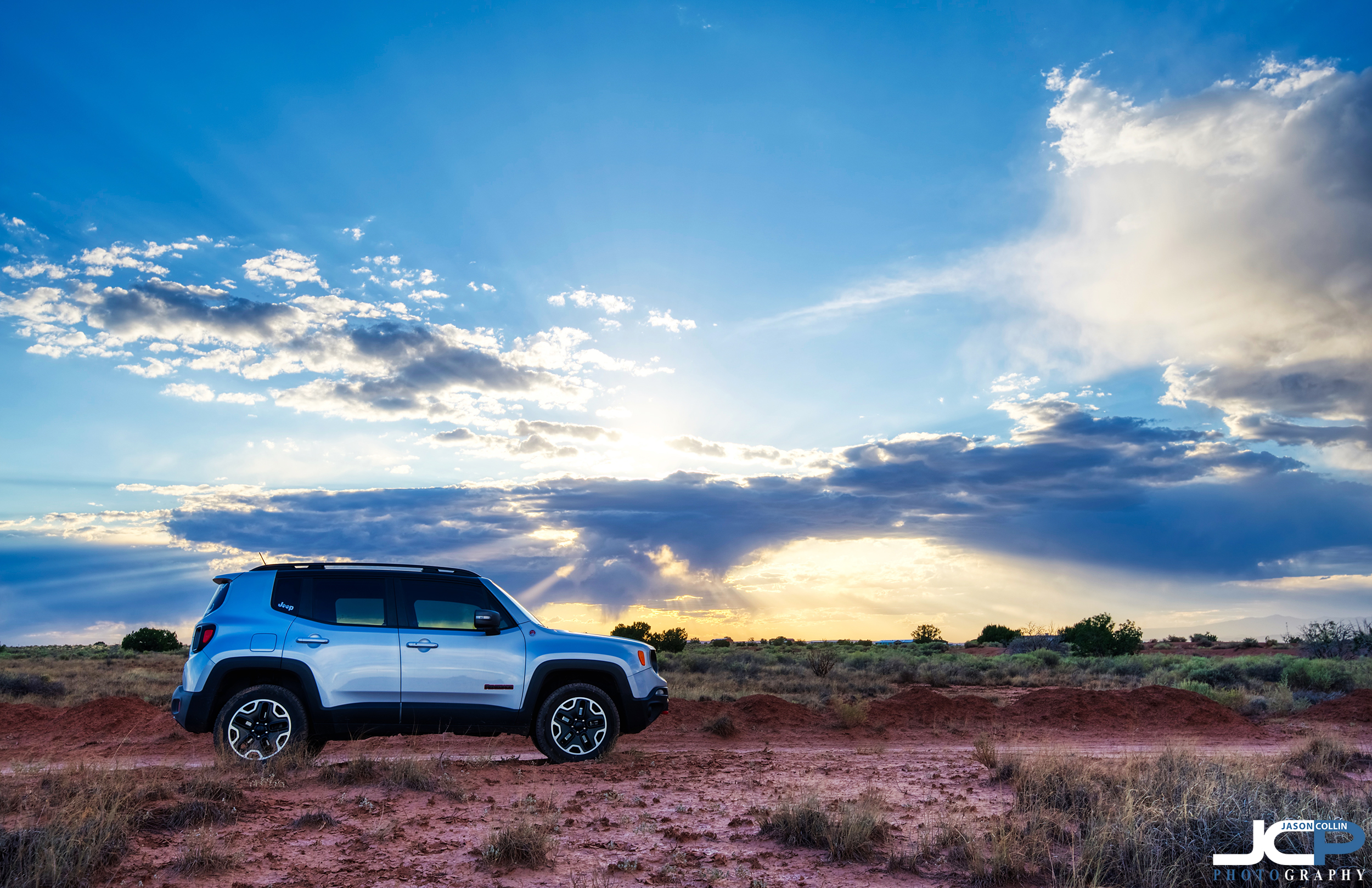 Jeep Renegade Trailhawk desert sunset New Mexico