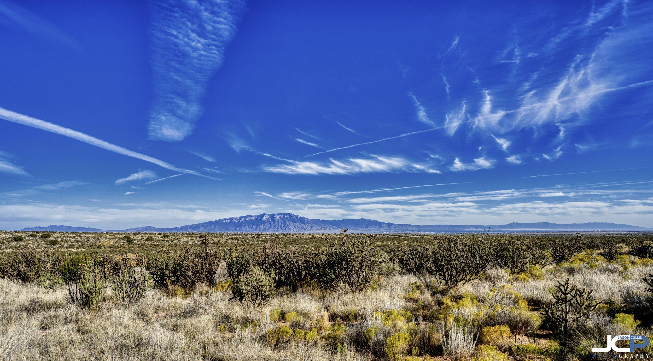 Early autumn blue skies over the Sandia Mountain