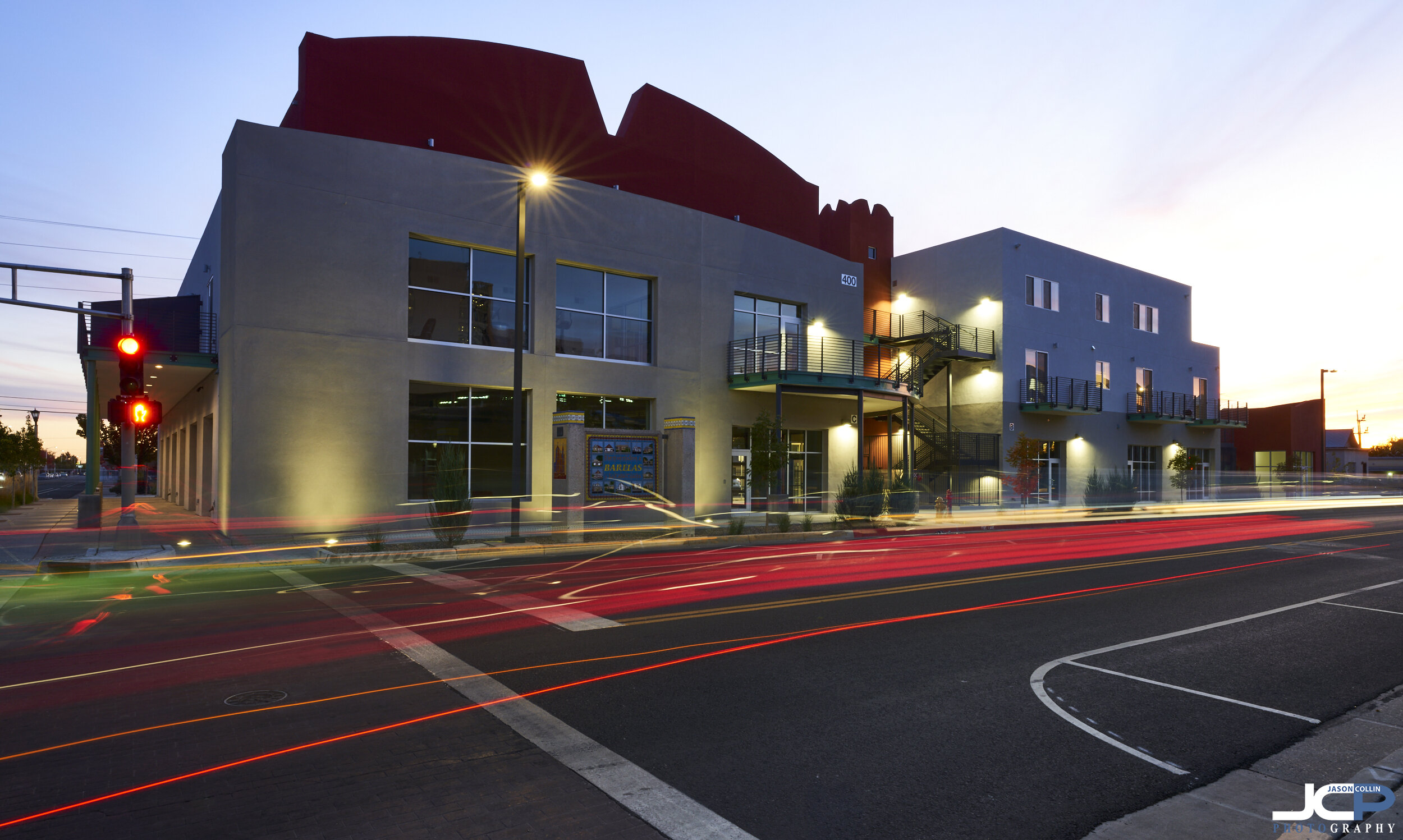 Light trails add stylistic flair to commercial real estate photography in Albuquerque