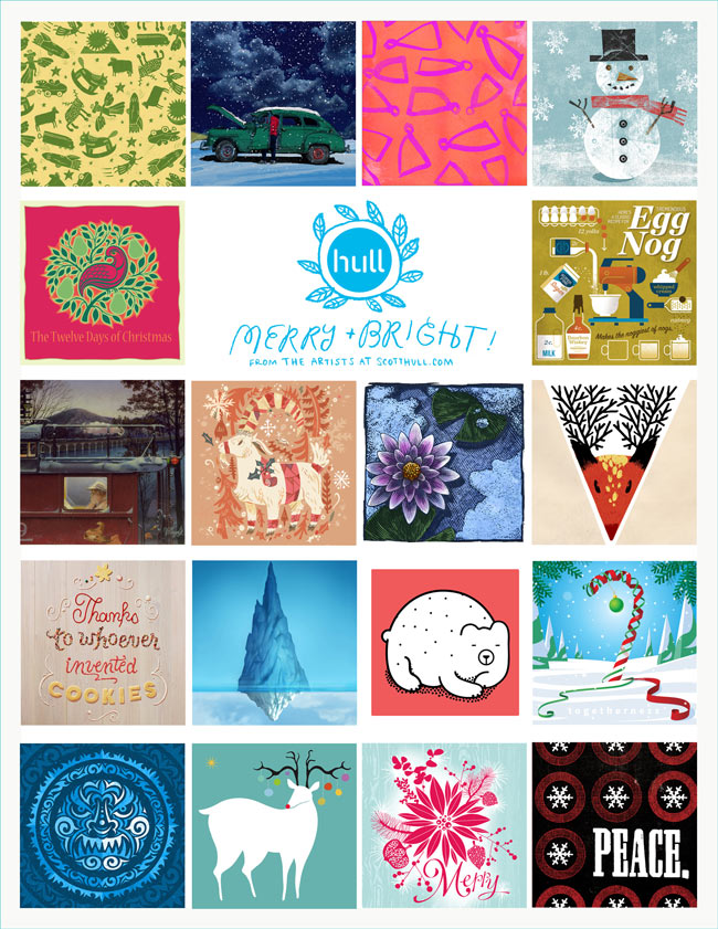 scott hull - 18 illustrated gift tags - free download