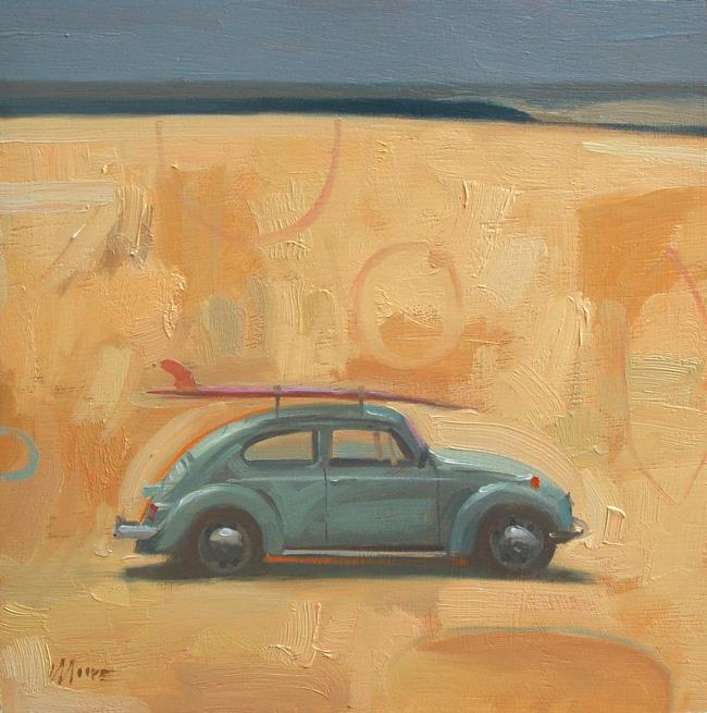 Larry Moore from Scott Hull Associates Surfology of VM Beetle on beach