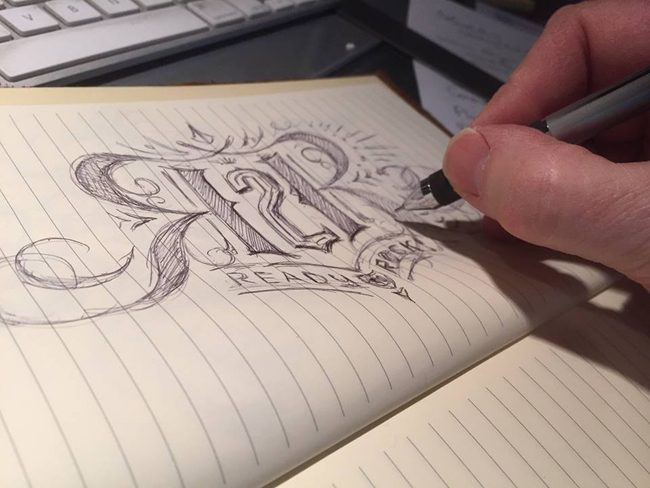 Scott Hull Associates' Mark Riedy sketch for R2R identity