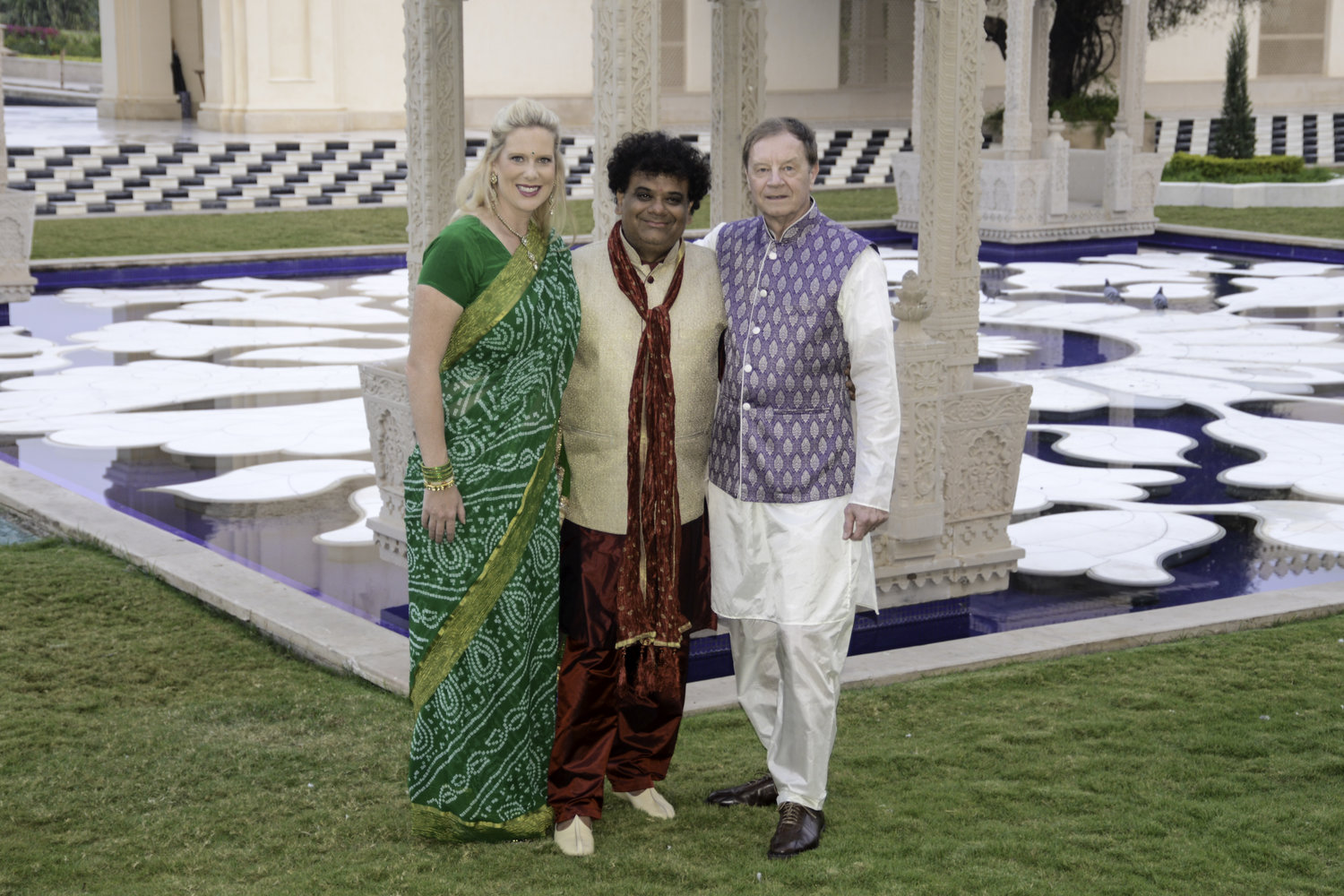 Yatin & LeAnn Patel and Don Bielinski in traditional clothing