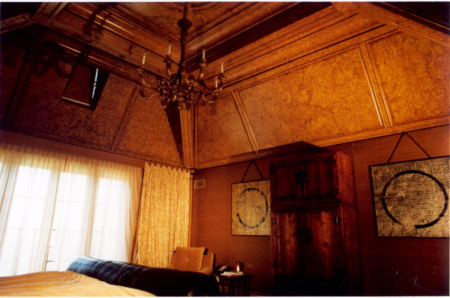 The Burl Ceiling   We were a crew of two up on scaffolds painting this entire ceiling for a couple weeks. We used oil-based paint, applied several glazes, shelack in between and sealed with varnish. This master bedroom located in a mansion in Englewood, New Jersey.