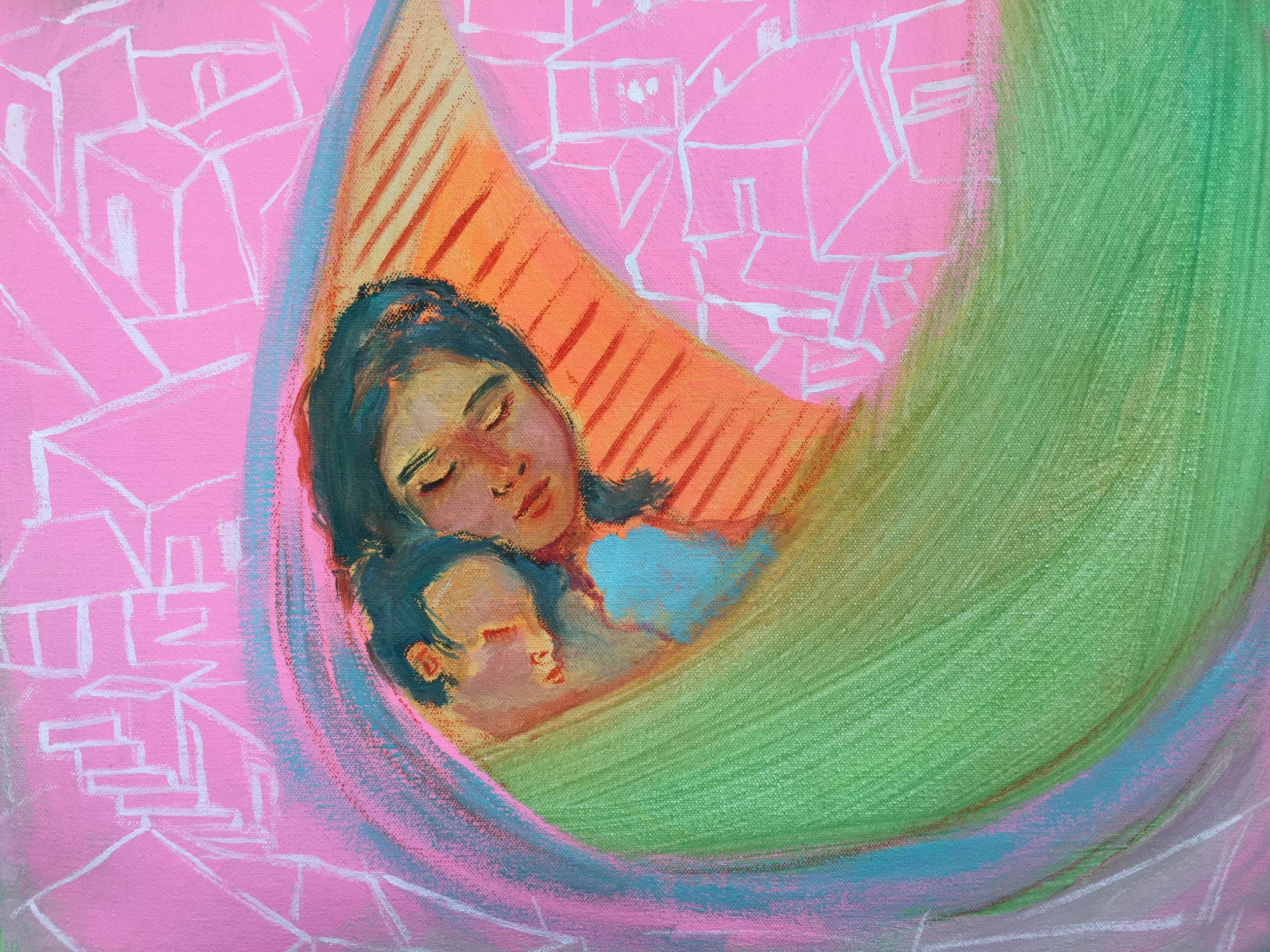 Siesta de Chinchorro , Oil and Acrylic on Canvas, 19 by 19 in., 2018.