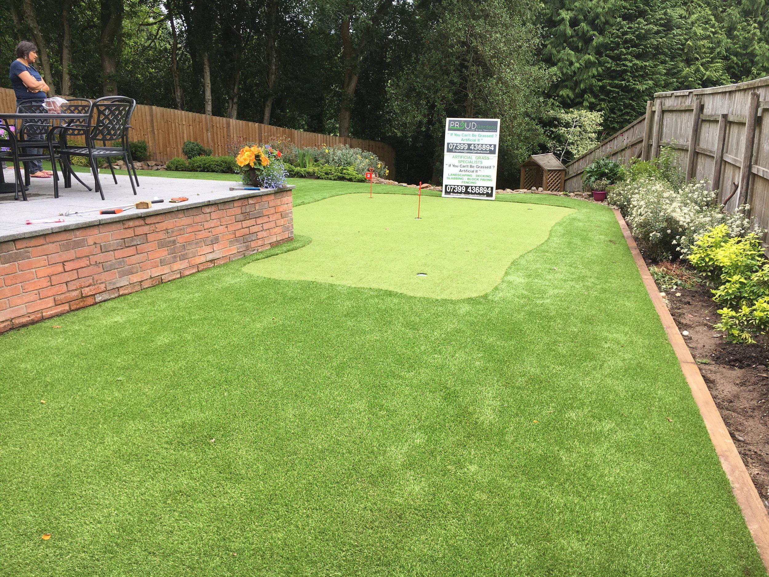 Putting Green Artificial Grass Installation by Proud Gardens