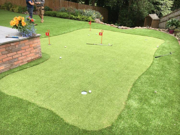 Putting Green Artificial Grass Installation, Putting Green Garden Grass