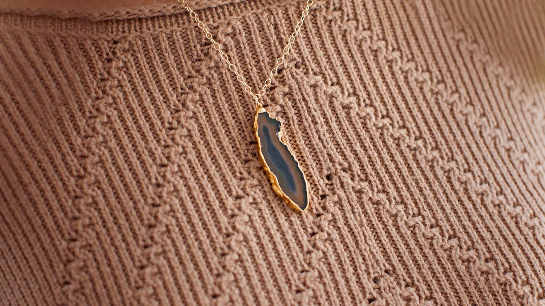 Agate Gem Stone Necklace