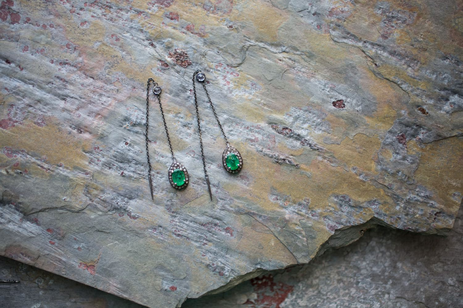 Emerald Diamond Thread Earrings | Cale & Cole