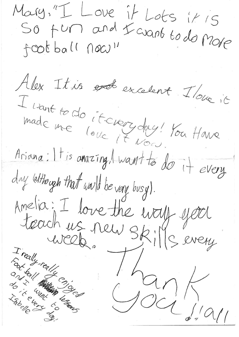 Pictured above is a thank you note given to us following a 8 week girls football project that was as part of our partnership within our local Sheffield School network.